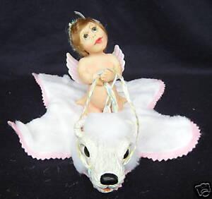 "Pat Kolesar Mommy's Little Angels Emerald Doll Hand Cast Resin With Bear 5"" NIB"