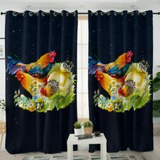 Chicken Floral Rooster Animal Night Window Living Room Bedroom Curtains Drape