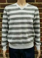Men`s New V-Neck Lambswool Jumper w/ Elbow Patch Size Medium Grey/White Sweater