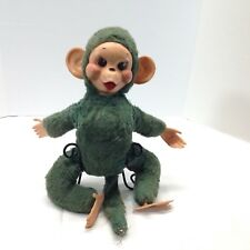 Rushkin Green Monkey Vintage Rubber Face 1950s  Plush Stuffed Animal Toy 15.5""