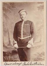 LONDON MILITARY UNIFORM  H. WORTHAM SIGNED ANTIQUE CABINET CARD PHOTOGRAPH