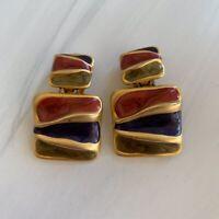Vintage Enamel Gold Tone Mat Drop Cleap Earrings Red Multicolor Costume 80s 90s
