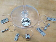 SET OF 8 CROSSFIT Exercise Weight Lifting GYM YOGA WINE GLASS CHARMS