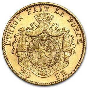 1867 Belgium Gold 20 Francs Leopold II