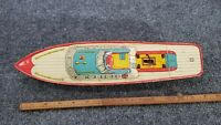 "VINTAGE TIN LITHO J CHEIN & CO. WINDUP TOY BOAT 14"" LONG MADE IN USA"