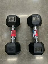 🔥NEW Weider Dumbbell 15 Lbs Pair Rubber Hex 30 lbs total Set Of 2 *FAST SHIP*🔥