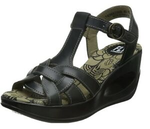 FLY LONDON BLACK WEDGE SANDALS - SIZE 4/37