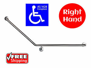 40 DEGREE SAFETY RAIL RIGHT HAND AS1428 GRAB BAR DISABLED TOILET STAINLESS STEEL