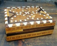 Antique  Wooden handmade inlaid  mother of pearl Tobacco/ trinket  box