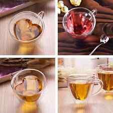 180ml Heart Shaped Double Wall Clear Transparent Glass Tea Cup Coffee Mug Gift