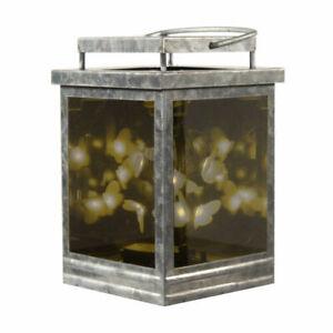 Infinity Hot Plate Wax Warmer Galvanized Lantern LED Lighted Butterflies NEW