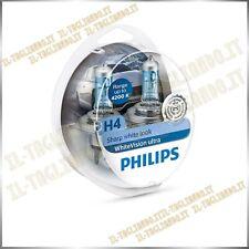 Kit 2 Lampade Philips White Vision Ultra H4 4200k effetto xenon + 2 lampade W5W