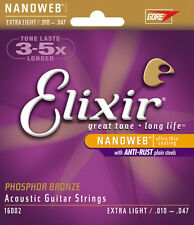 Elixir Nanoweb Phosphor Bronze Extra Light Acoustic Guitar Strings 16002 12 Sets