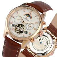 Casual Men Tourbillon Automatic Mechanical Wrist Watch Date Leather Strap Gift