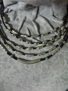 silver beads NECKLACE pagan boho ethnic biker black beaded bib silver