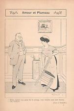 ▬► Original Print Humour Curiosa 1919 Dessin Fabiano Amour et Plumeau