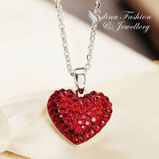 With Swarovski Element Small Heart Necklace High Quality 18K White Gold Gf Made