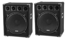 "2x DJ PA Passive Speaker Box 15"" (38cm) Subwoofer Disco Party Club Bass 800W Set"