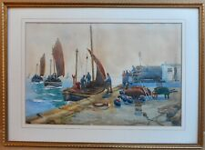 Pittenweem Harbour. Watercolour by listed Scottish artist David Martin c1910