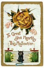 Halloween Greetings -JOL MAN & BLACK CAT-Hofmann 2040 Embossed Postcard