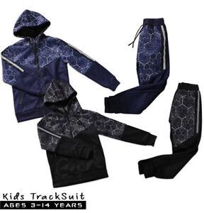 Boys Tracksuit Kids V Designer Style Hooded Jogging Bottoms And Hoodie 2 Colors