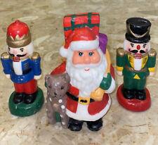 "3 Vintage Christmas Candles Santa Claus Nut Cracker Holiday Wax 6"" & 6.5"""