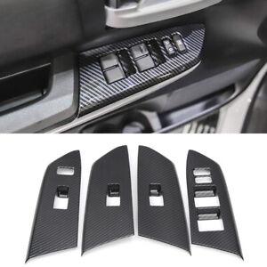 ABS Carbon Fiber Inner Door Armrest Cover Trim 4pcs For Toyota Tundra 2014-2020