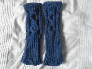 Ladies cosy mid blue mix hand knitted cable pattern wrist warmers, NEW