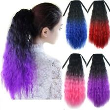 Long 18 Colores Ombre Afro Yaki Straight Ponytail Clip In Tie on Hair Extension