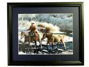 WESTERN COWBOY PICTURE HEADING HOME KEVIN DNIEL MATTED FRAMED16X20