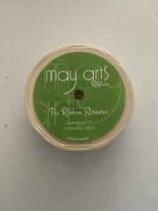 "May Arts Ribbon Spool Cream Beige 30 Yds. x 7/8"" NEW Polyester Satin"