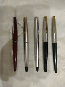 Lot of 5 Stainless Steel & Gold parker Fountain Pens - USED