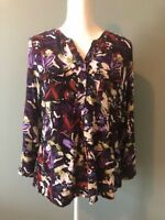 CJ Banks Womens Top Blouse Size X Black Purple Red Floral Pleated Buttons Pocket