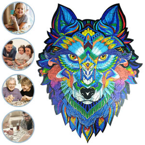 Adults Kid Wood Jigsaw Puzzle Cartoon Animal Wolf Unique Toy Home Decoration