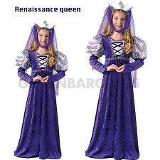 Renaissance Queen Costume Girl Book Week Royal Maiden Princess Purple Medieval M