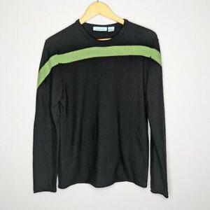 Gene Meyer Men's Black Green Stripe Long Sleeve Merino Wool Sweater Size S