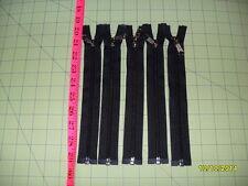 "9"" YKK Nylon Coil SEPARATING Zipper (Black in Color) - Lot of 5"