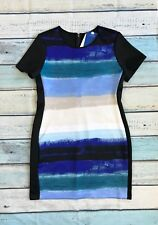 NWT Reed Sz L Fitted Dress Blue black Short Sleeve