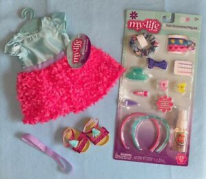 My Life As Blue/Pink 3D Flower Dress & 15 pc Hair Accessories Play Set NEW