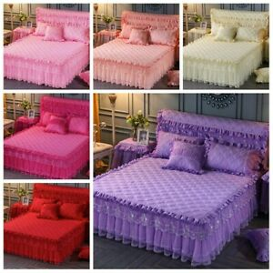 1PC Lace Floral Bed Skirt Dust Ruffle Bedspread Home Bedding Adorn Princess Cute