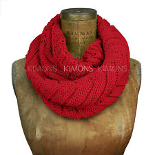 Zigzag Knit Infinity Scarf Circle Loop Cable Neck Long Cablel Winter Womens 541