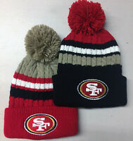 San Francisco 49ers Pom Pom Beanie Skull Cap Hat Embroidered SF