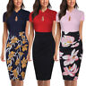 Women's Elegant Keyhole Bodycon Pencil Summer Formal Office Work Casual Dresses