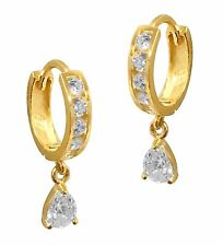 14K Real Yellow Gold CZ Huggie Huggy Baby Hoops Earring