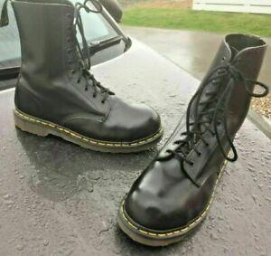 Vintage Dr Martens 133 black leather steel toe boots UK 10 EU 45