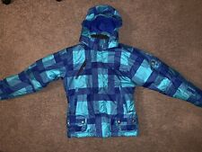 Girls SPYDER L/S Winter Puffer Coat w/ Hood Turquoise & Blue Plaid SZ 12