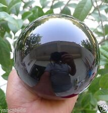 80MM+stand- Natural Black Obsidian Sphere Large Crystal Ball Healing Stone