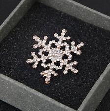 FREE GIFT BAG Ladies Christmas Snowflake Fashion Crystal Brooch Safety Pin Xmas