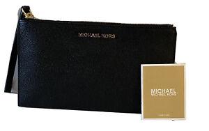 $98 New  MICHAEL KORS JET SET ITEM LARGE ZIP CLUTCH WRISTLET BLACK LEATHER