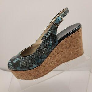 Jimmy Choo Women's US 6 EU 36 Prova Blue Python Slingback Wedge Sandals Reg $450